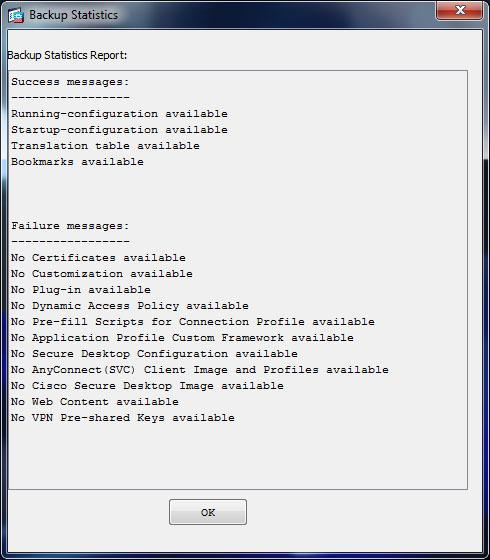 asdm backup report