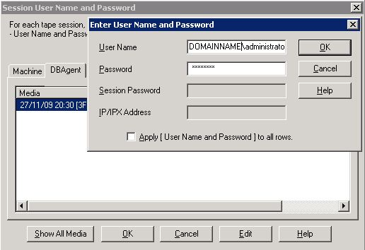 change arcserve password