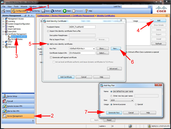 asdm configure telnet access