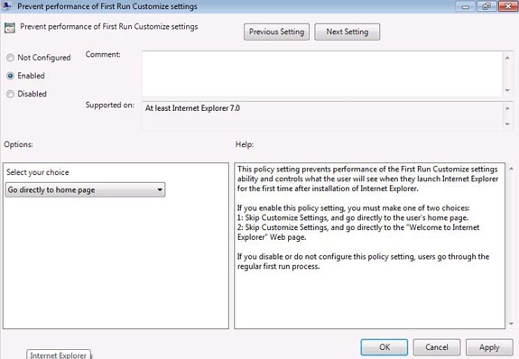 group policy disable ie welcome