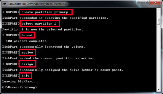 diskpart active partition