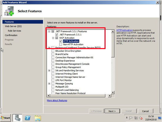 Features Required Exchange 2010