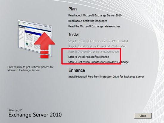 Install Excange 2010
