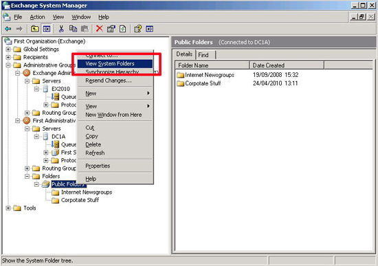 Migrate system Folders