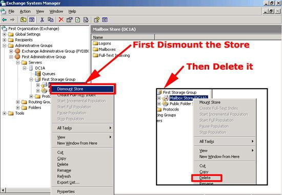 Delete Mailbox Database 2003