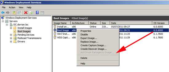 Add Driver Packages to Image is grayed out