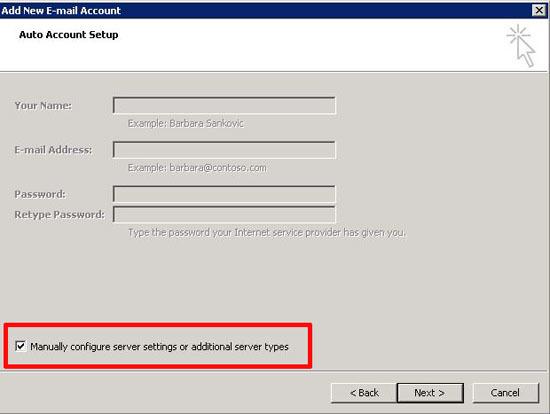 manually configure Outlook