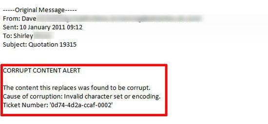 Corrupt Content Alert
