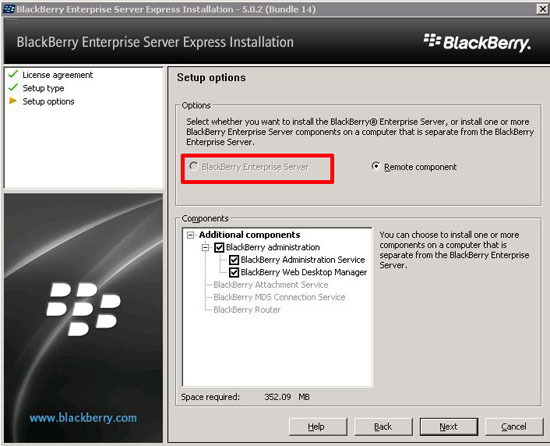 Blackberry Enterprise Server - Greyed Out?