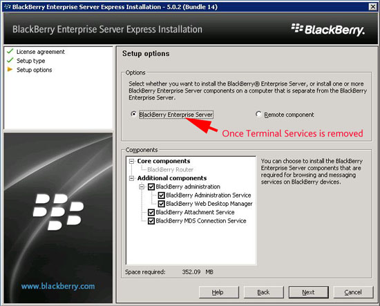 install Blackberry Enterprise Server