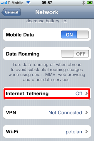 tethering settings