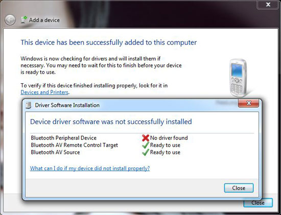 bluetooth no driver found