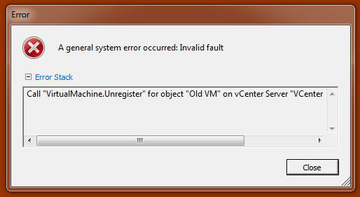 "Error: Call ""VirtualMachine.Unregister"""
