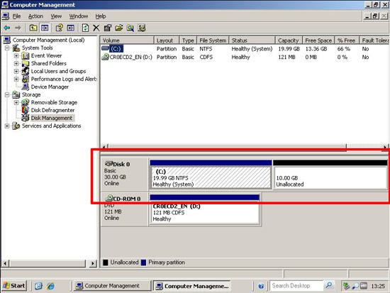 repartition servers c drive
