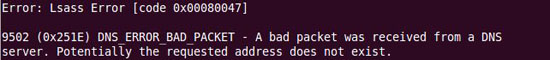 DNS_ERROR_BAD_PACKET