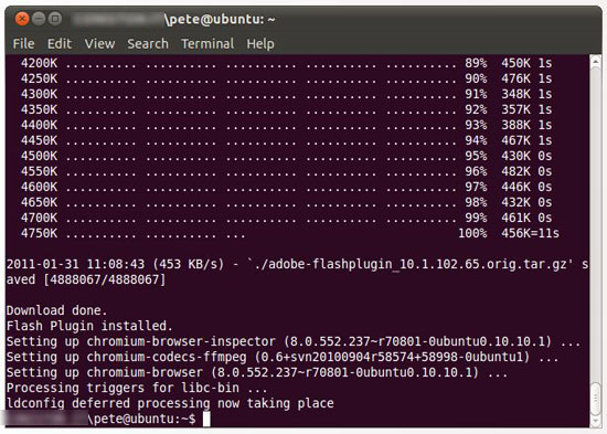 ubuntu install flash