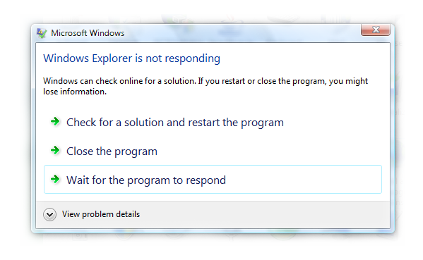 windows explorer is not responding
