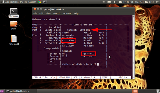 ubuntu serial socket settings