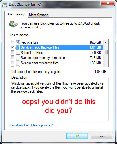 remove service pack backup files