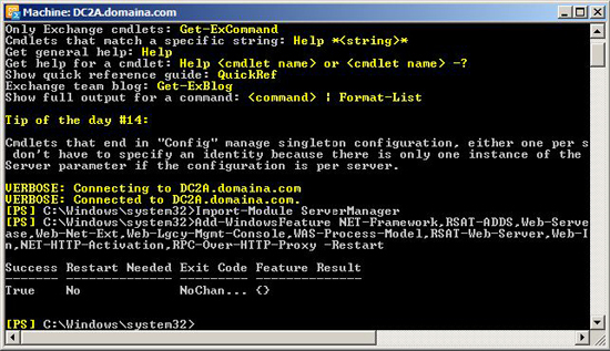 powershell exchenge pre requisites