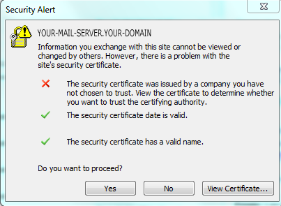 The security certificate was issued by a company you have no chosen to trust