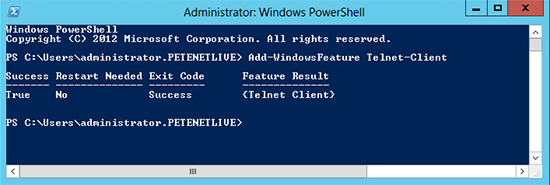 Server 2012 Enable Telnet