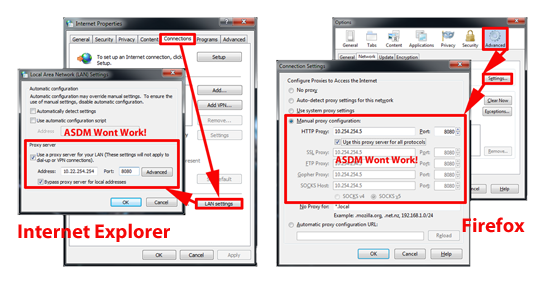 ASDM Proxy Settings