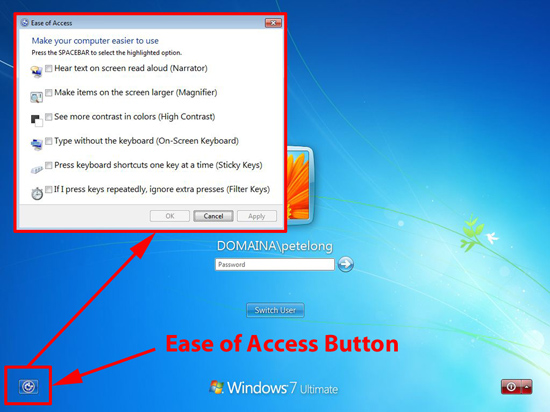 remove ease of access button