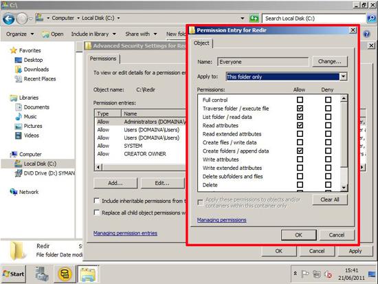 folder redirect ntfs permissions