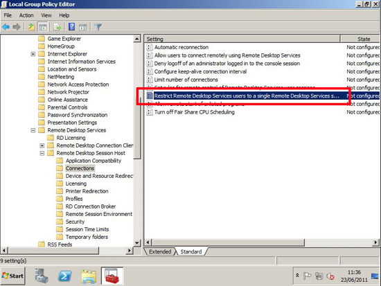 Remote Desktop multiple logons group policy