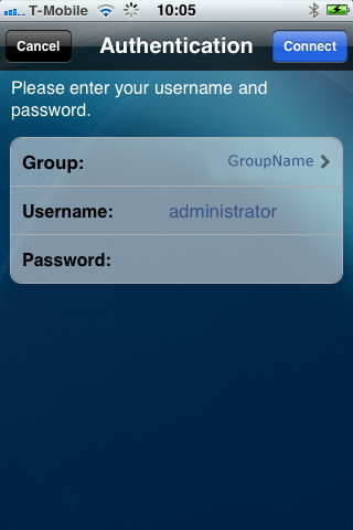 AnyConnect iPhone Authentication