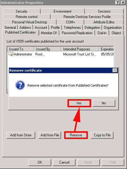 remove cert from published