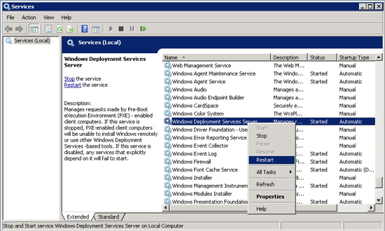 Windows Deployment Services Server service.