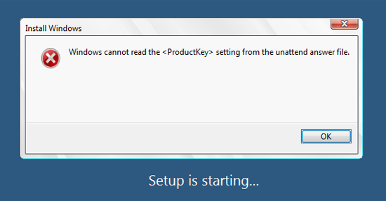 Windows cannot read the ProductKey setting from the unattend answer file