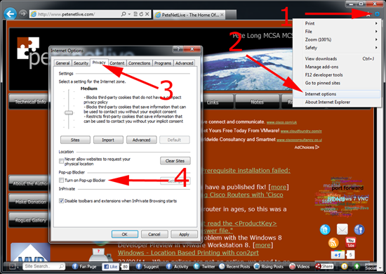 dissable popup blocker ie