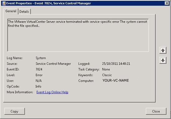 vcenter service wont start