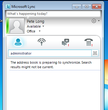 lync address book is preparing to synchronize