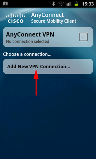 android anyconnect new connection