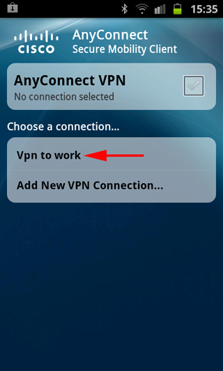 android anyconnect start connection