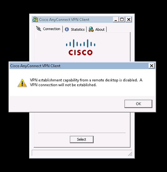 VPN establishment capability from a remote desktop is disabled