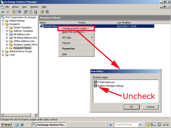 untick mailbox manager settings