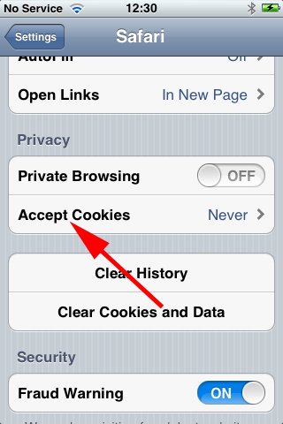 iphone accept cookies
