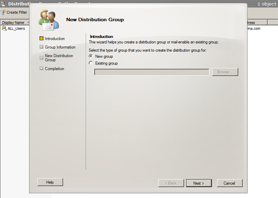 create distribution group