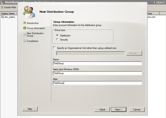 create distribution group alias