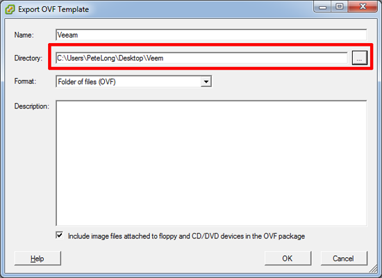 Export to OVF File Location
