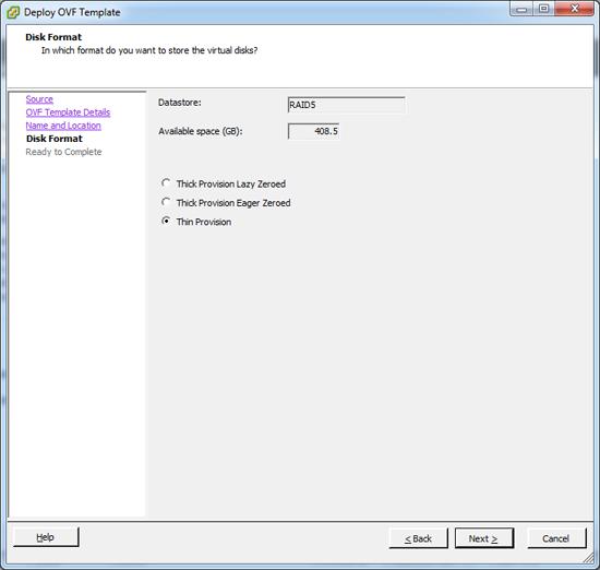 Import OVF file Disk Format