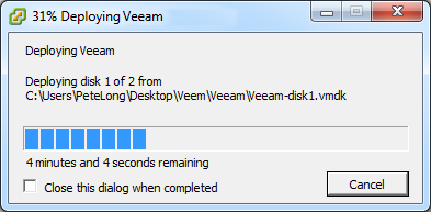 Import OVF file Progress