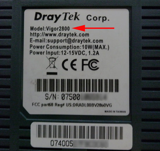 draytek serial number