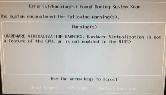 Dell Error HARDWARE_VIRTUALIZATION WARNINIG