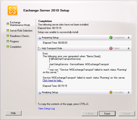Exchange 2010 failed to reach status 'Running'